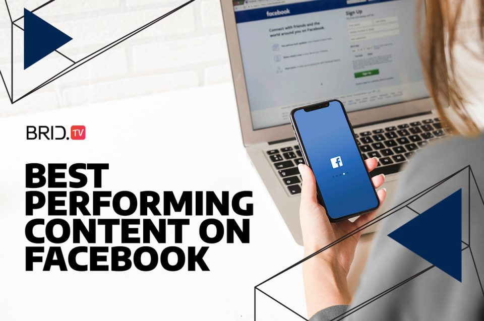 person holding a phone over a laptop with best performing content on facebook written on the left
