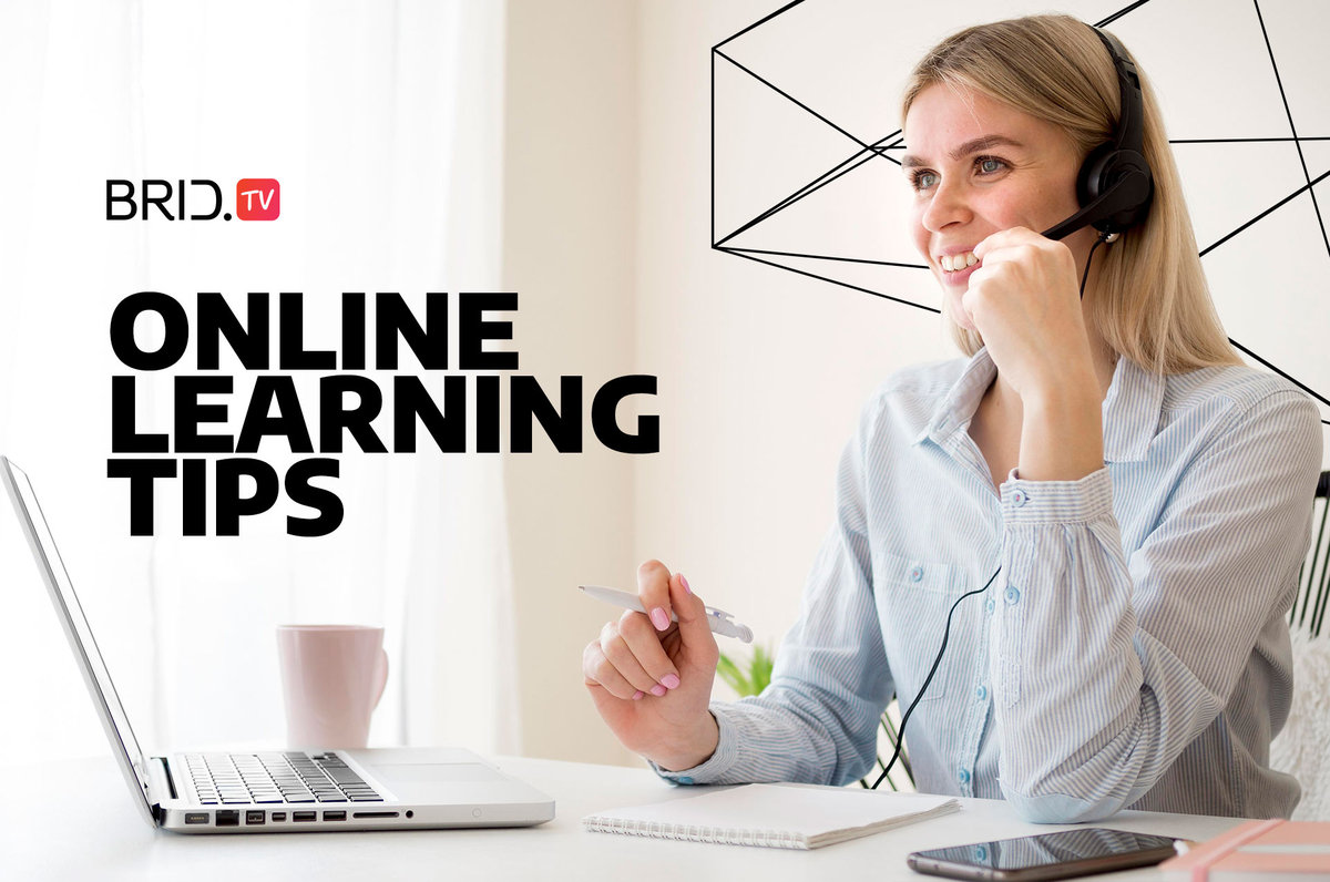 business woman sitting with a pen and paper and thinking, with online learning tips written on the left side