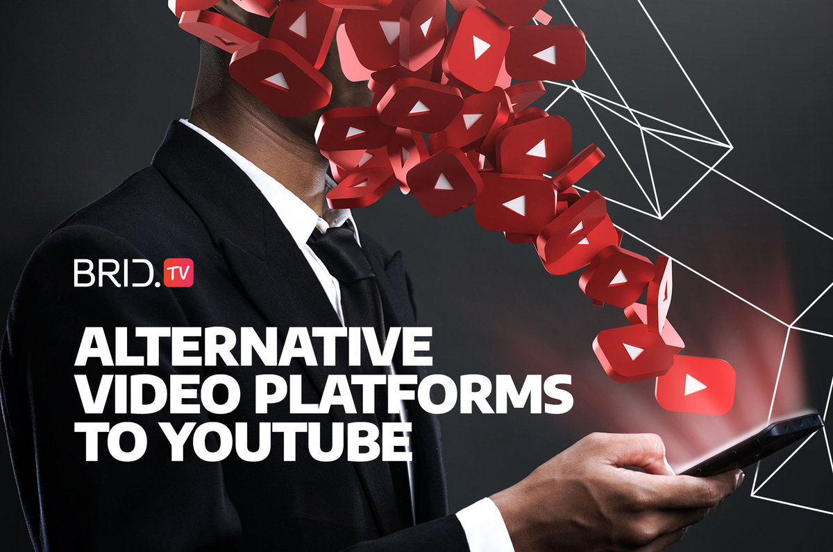 A man looking at a phone with youtube logos spraying out of it covering his face and alternative video platforms to youtube written on the side